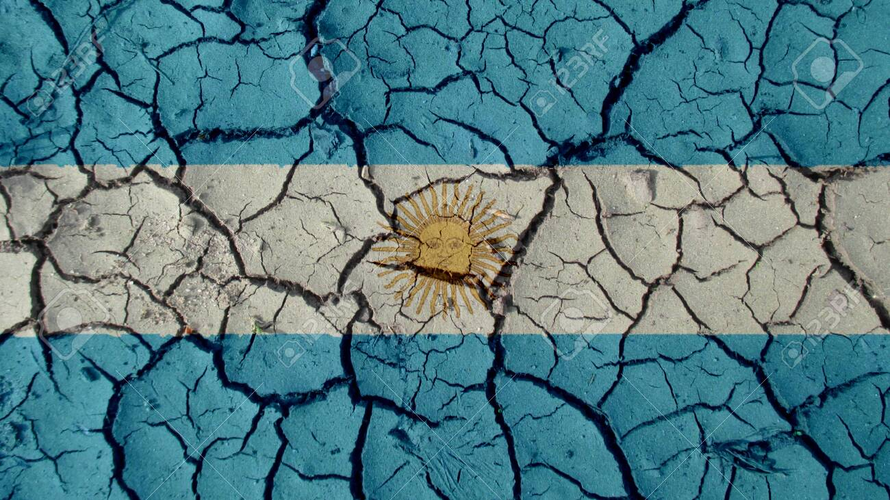 Political Crisis Or Environmental Concept: Mud Cracks With Argentina Flag - 122325899