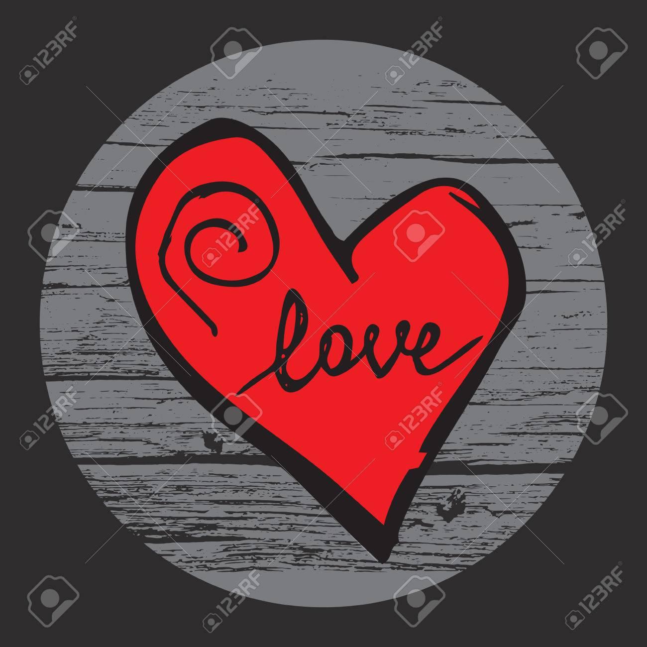 Handschriftkunststück Liebe In Der Hand Gezeichneten Herzen Auf Dem  Hölzernen Hintergrund. Vector Leicht Für Den