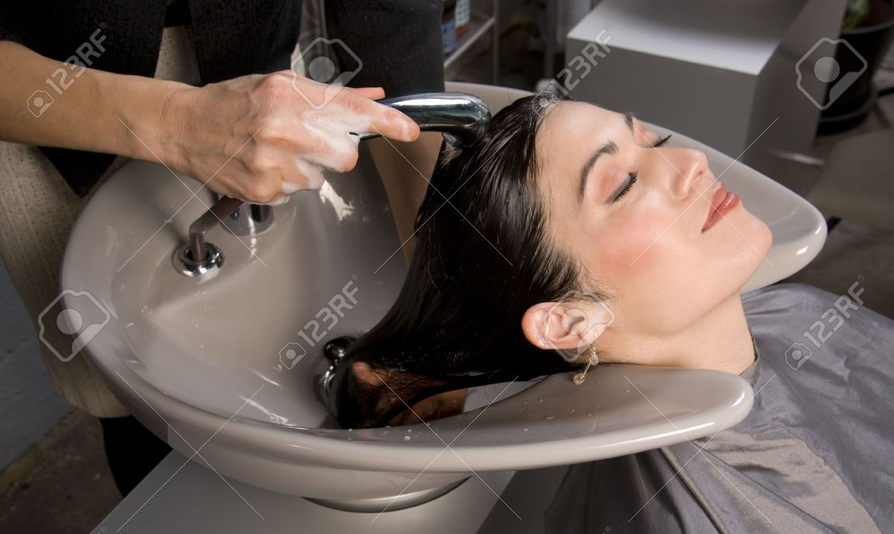 A day at the salon starts with shampoo Stock Photo - 14669306