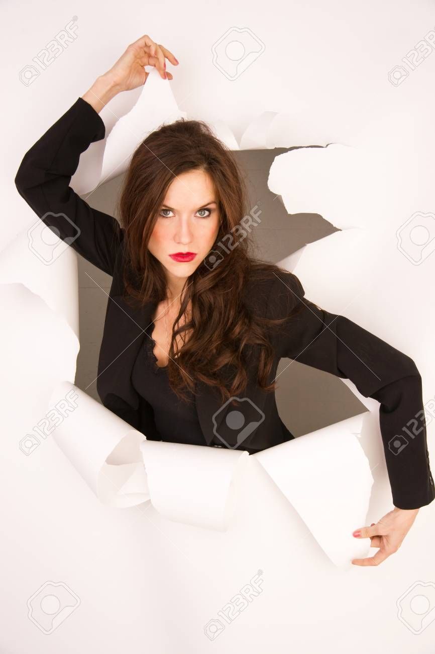 A business woman breaks through white Stock Photo - 16061703