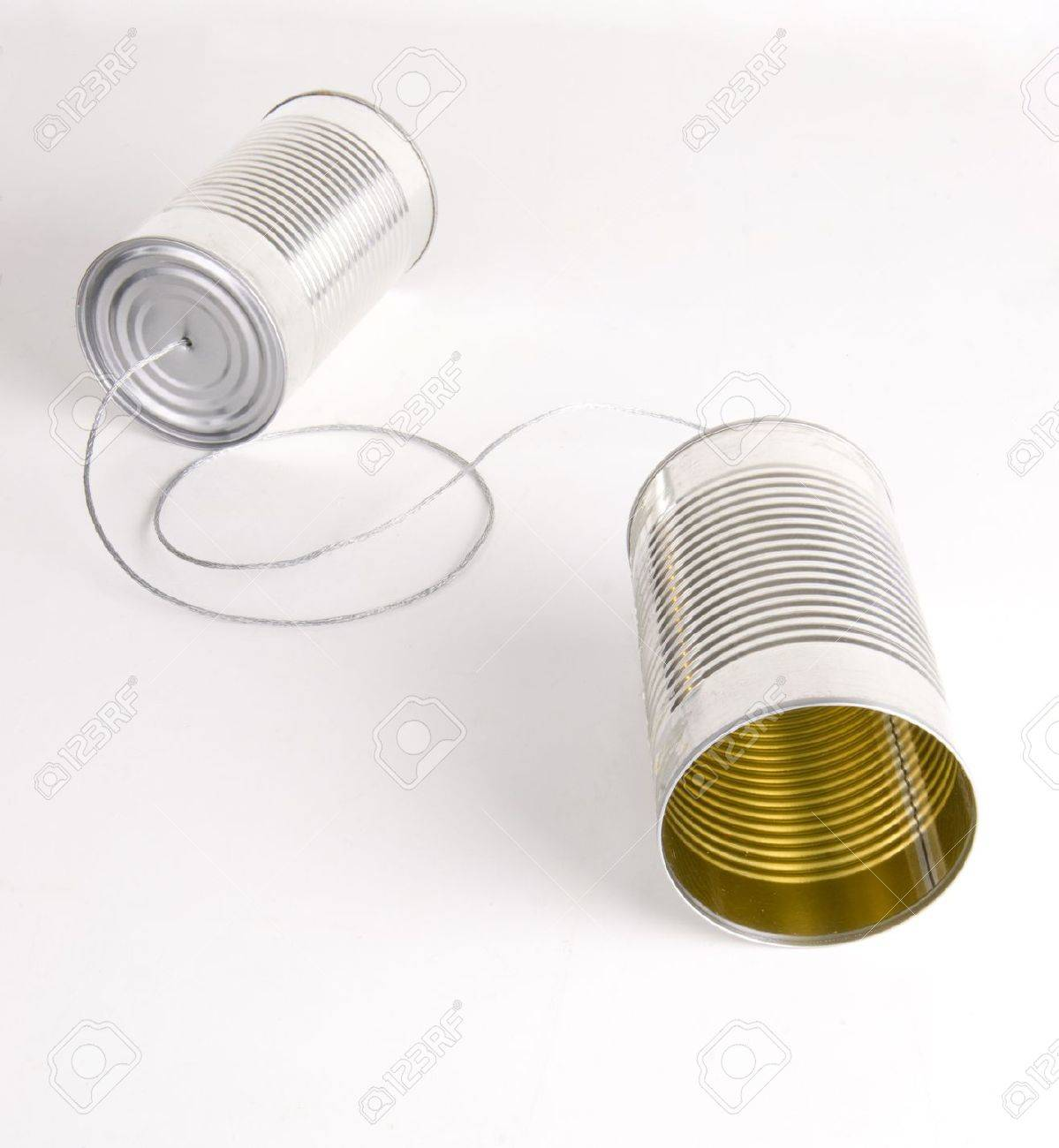 Two Cans Strung Together With Metal Wire Walkie Talkie Stock Photo ...