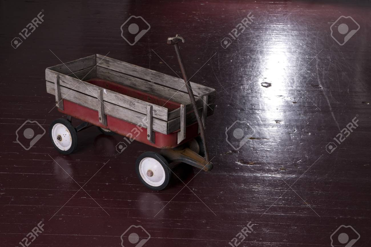 Vintage Rusted Red Metal Utility Wagon On Old Wood Floor Stock Photo Picture And Royalty Free Image Image 18619305
