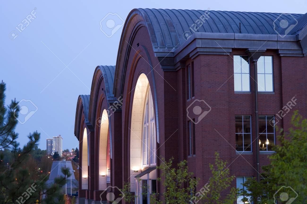 Horizontal composition of building archetecture downtown Tacoma Stock Photo - 19367366