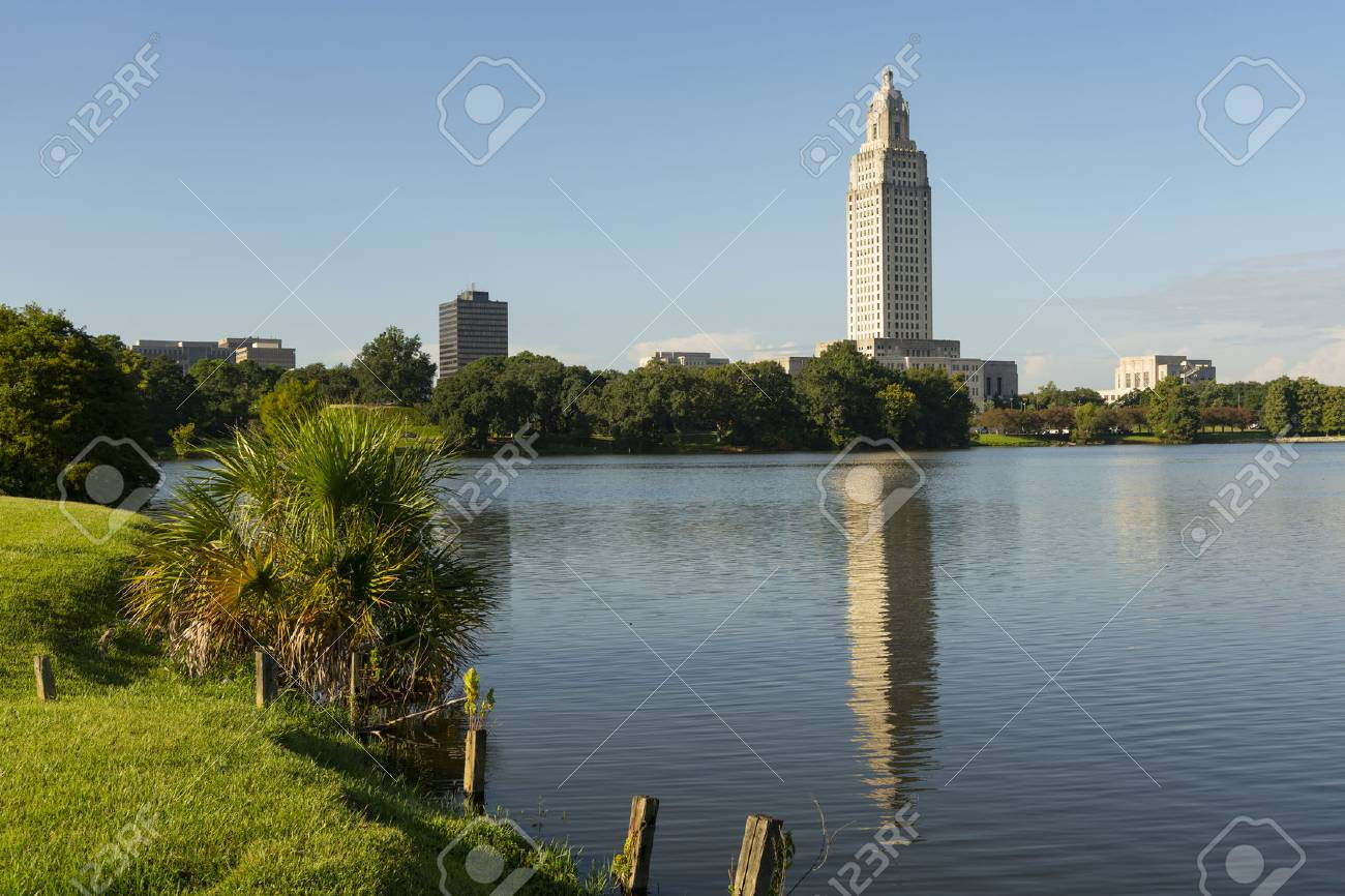 A horizontal composition of the area around Capitol at the State Capital Building Baton Rouge Louisiana - 107839195