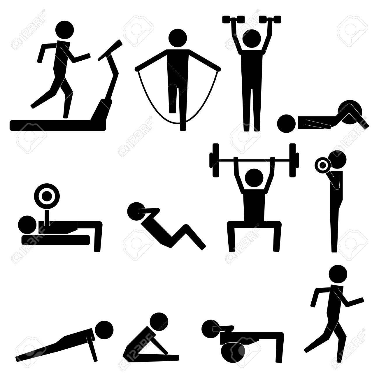 Human Stick Figure Body Exercise Icon Symbol Sign Pictogram - 51919684
