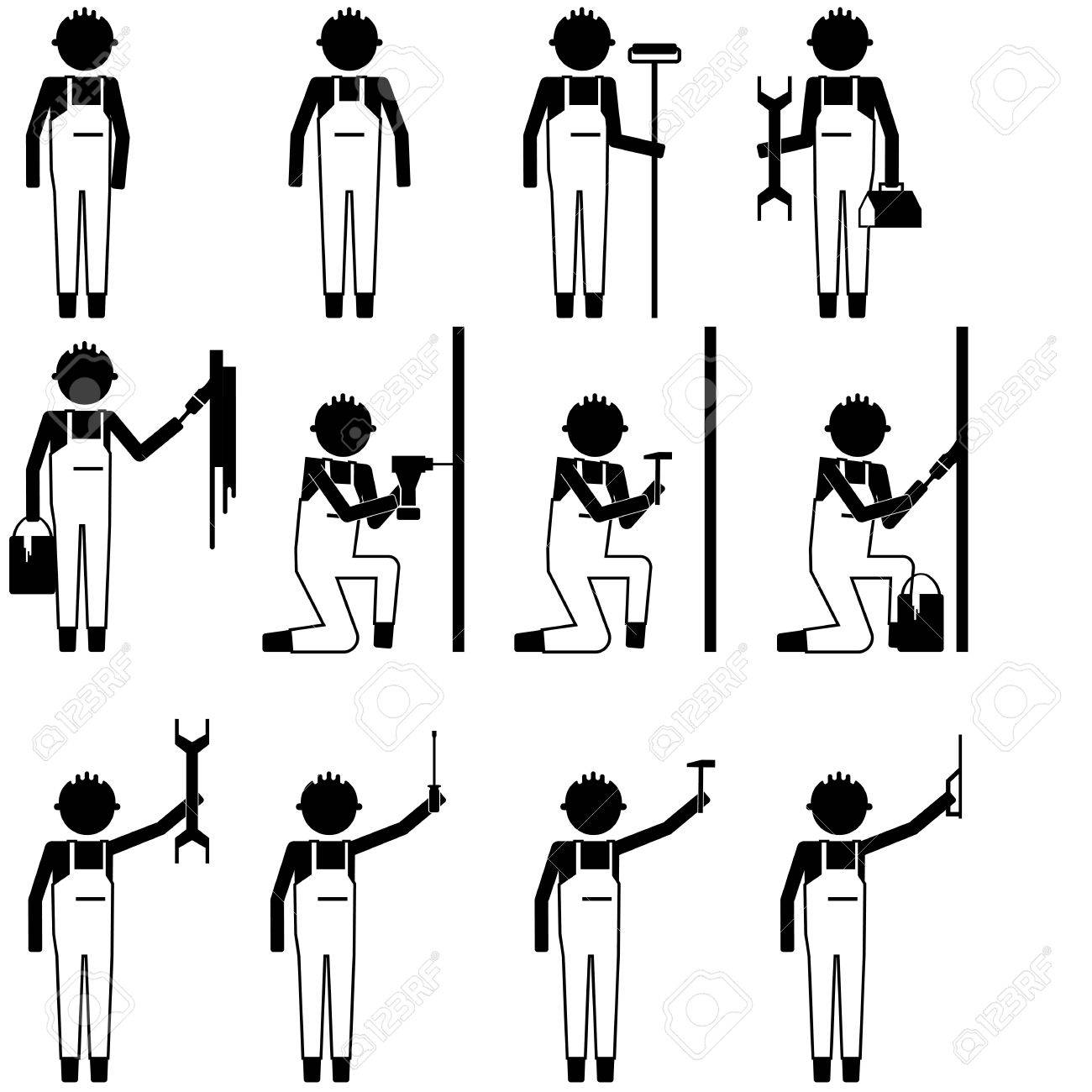 Handyman repair man working fixing painting things with various handyman repair man working fixing painting things with various tool icon symbol pictogram info graphic biocorpaavc Images