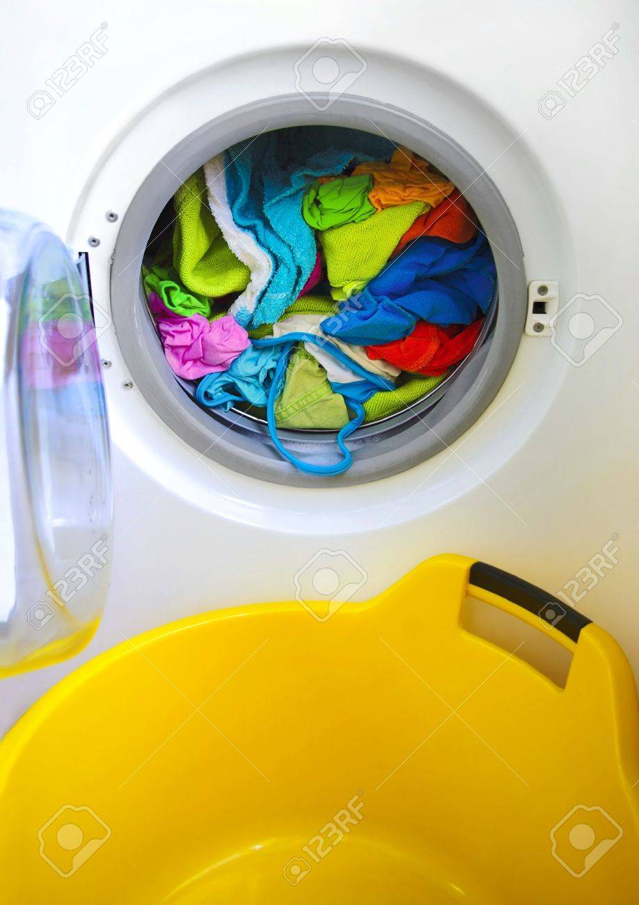 Washing Machine With Clothes