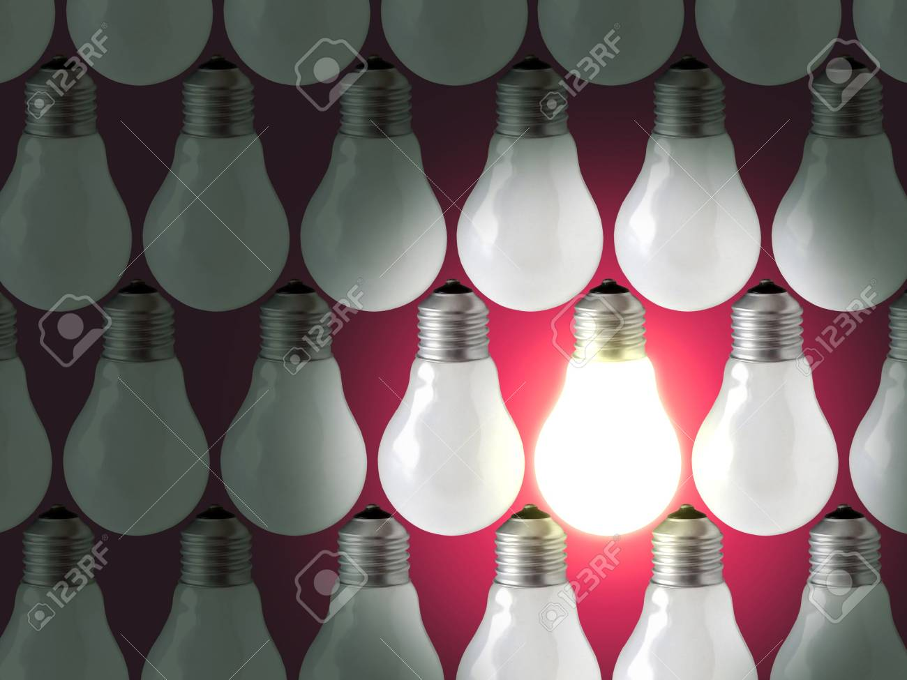 Composition of rows of lamp bulbs over red background. One of the lamps is on. Stock Photo - 2426813