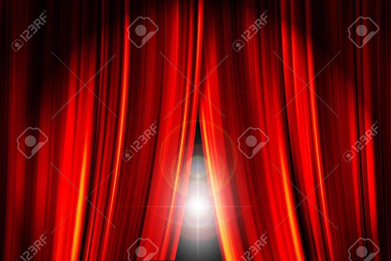 Theatre Stage Red Curtains Opening Showing A Bright Light Flare