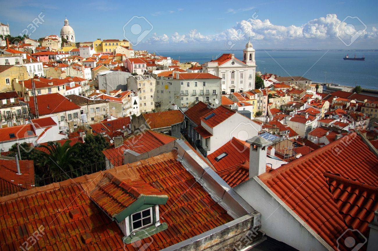 Panorama Of Old Traditional City Of Lisbon With Red Roofs And View Of River  Tagus Stock