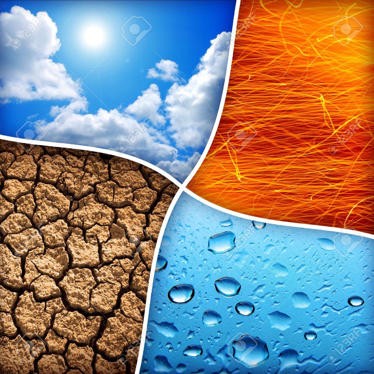 Zusammensetzung Der Vier Natürlichen Elemente Wasser Feuer Erde