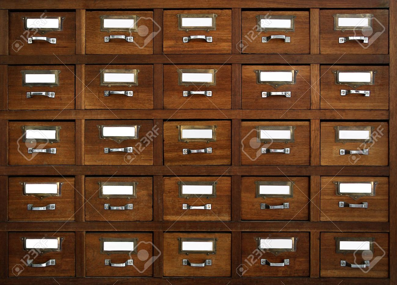 Rows Of Little Drawers With White Empty Tags In An Old Furniture ...