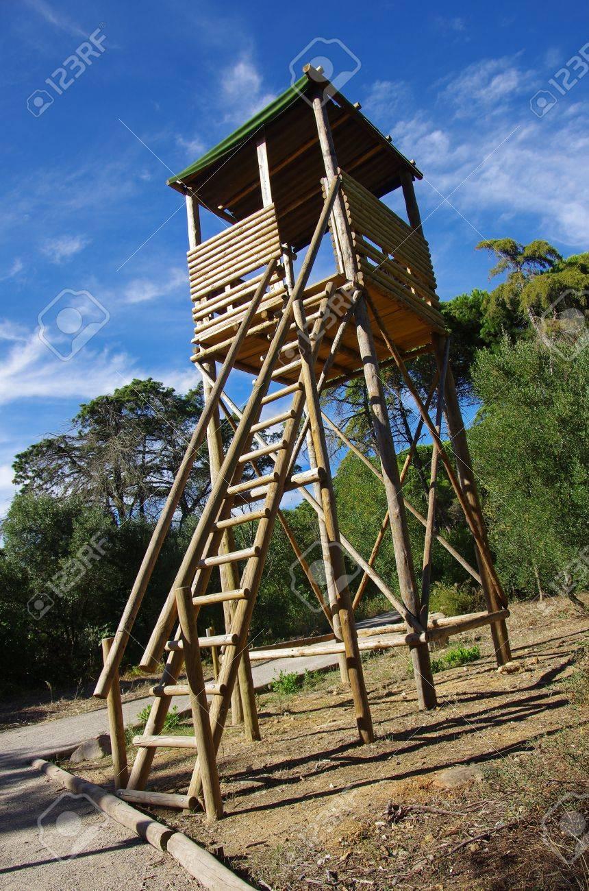 Bois De Feu Tour De Guet élevée Dans Une Colline Entourée Par Des