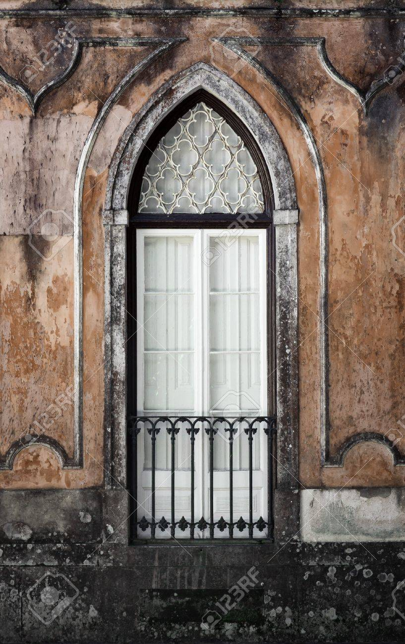 Gothic Window Of An Old Romantic Palace In Sintra Portugal Stock Photo