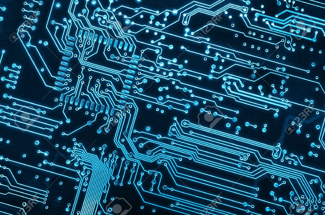 Close Up Background Of A Blue Electronic Circuit Board Stock Photo ...