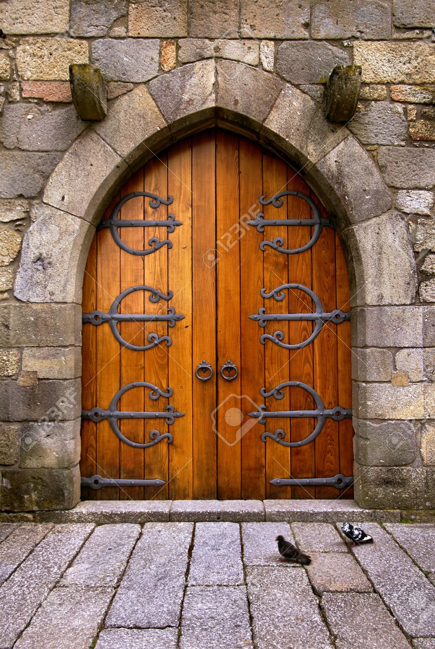 Beautiful old wooden door with iron ornaments in a medieval castle Stock Photo - 21970643 & Beautiful Old Wooden Door With Iron Ornaments In A Medieval Castle ...