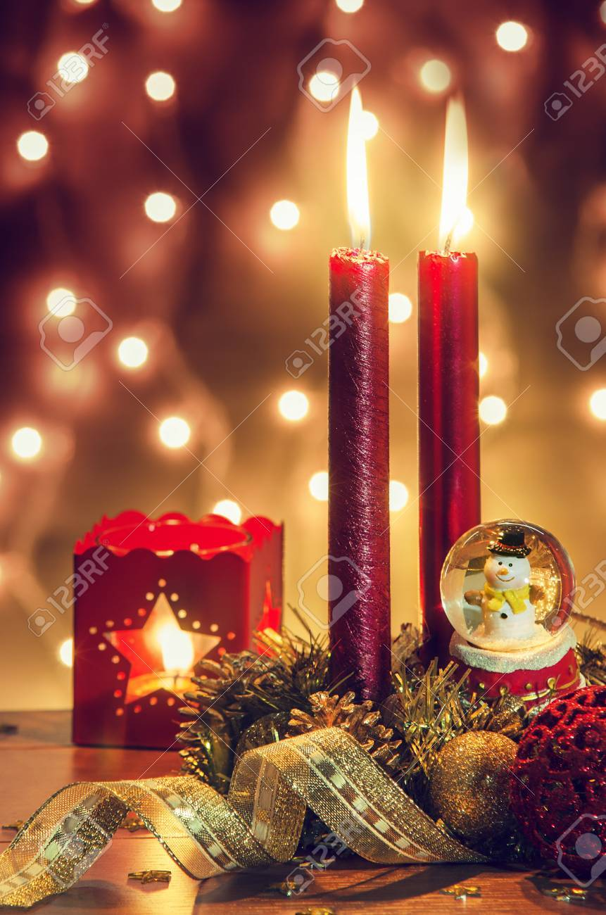 stock photo traditional christmas decorations with a warm nostalgic ambiance