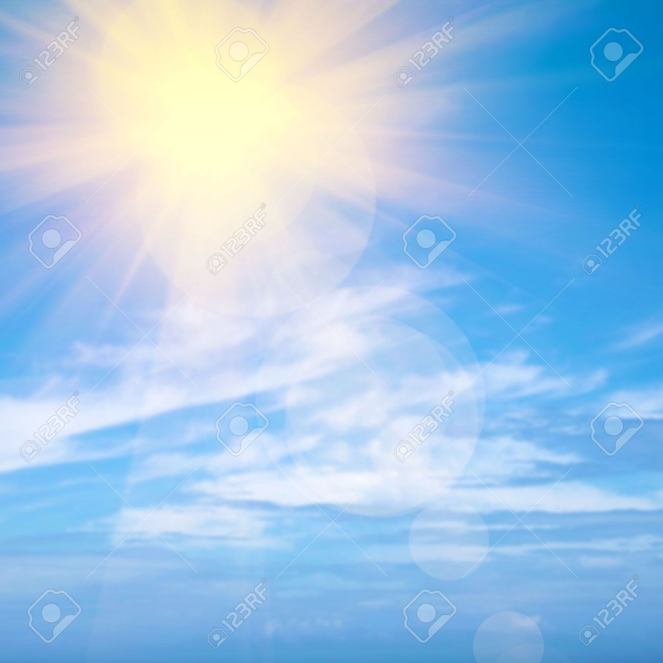 Heavenly blue sky with bright sunshine and light beams - 37139058