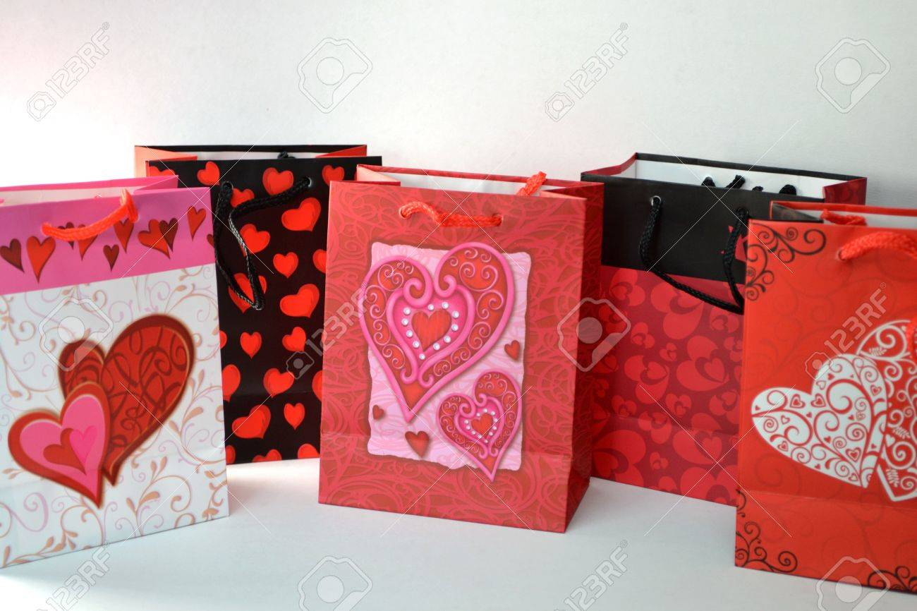 Valentine Gift Bags Isolated On White Background Close Up Stock