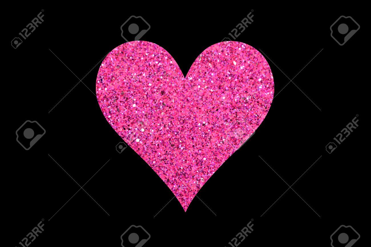 Glitter Heart Rose Isole Sur Fond Noir Banque D Images Et Photos