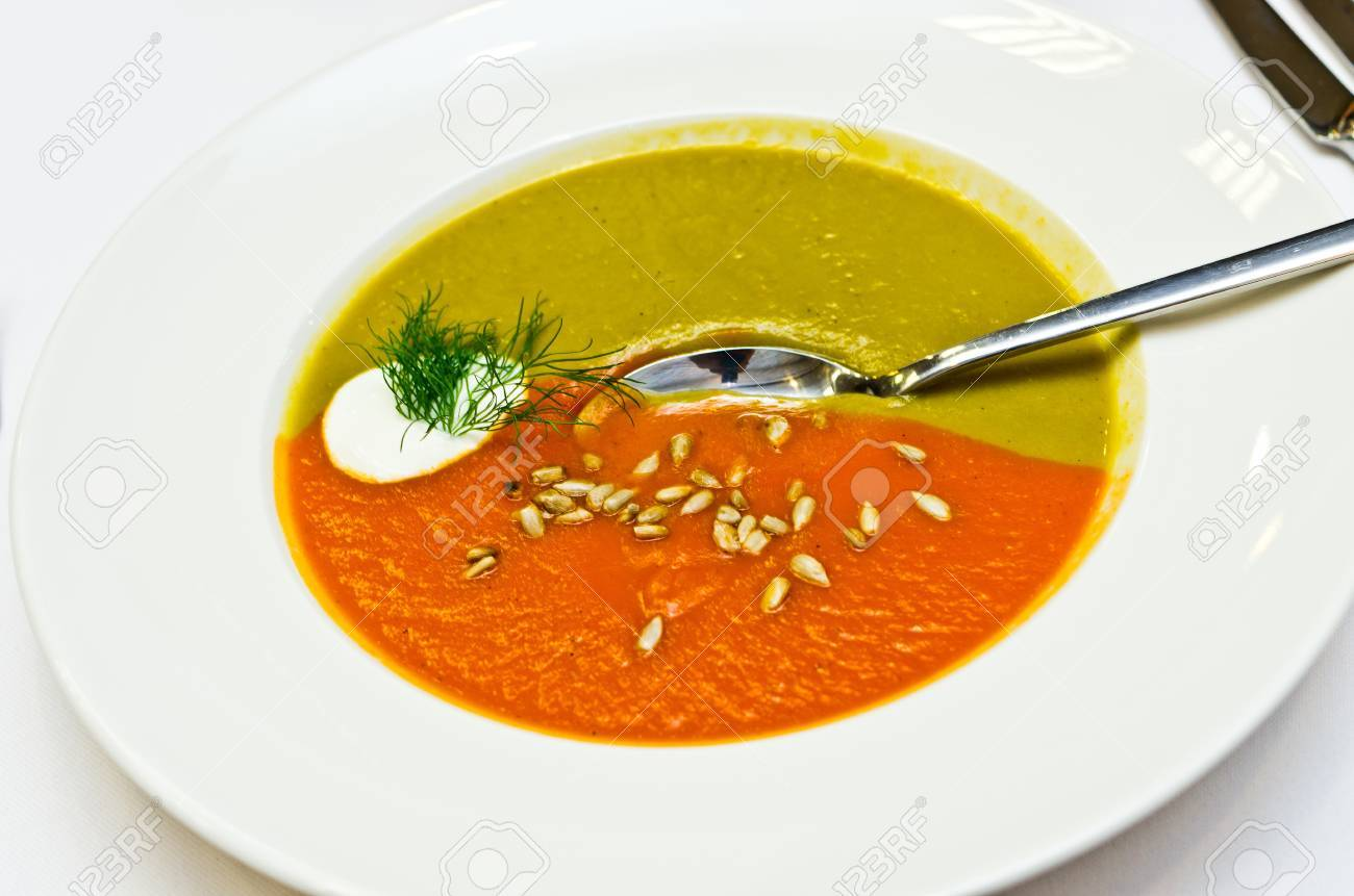 Creamy two colored soup made for vegetables Stock Photo - 16762366