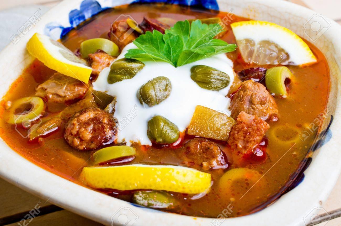 Traditional tasty russian Soljanka soup Stock Photo - 19021163
