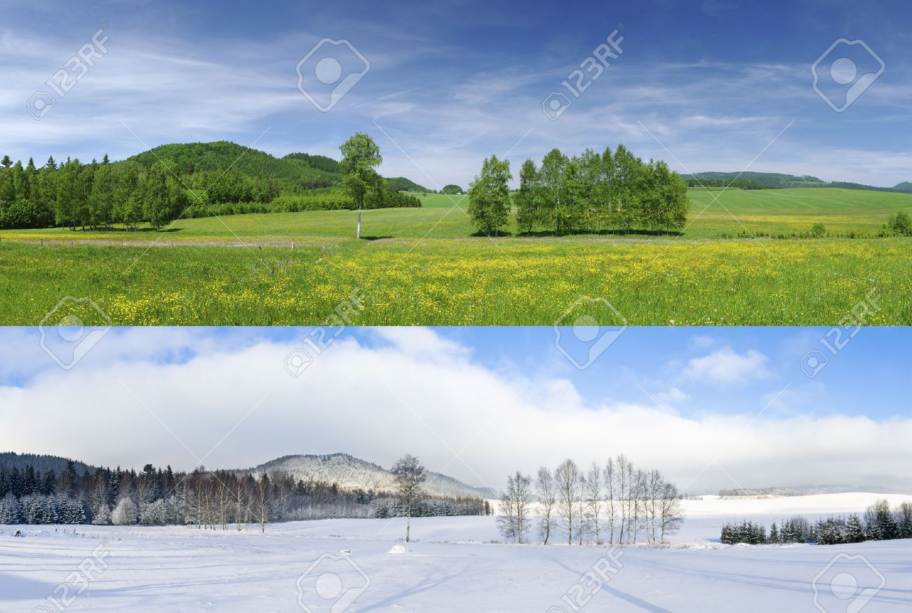 Comparison of 2 seasons - winter and summer - 39020098