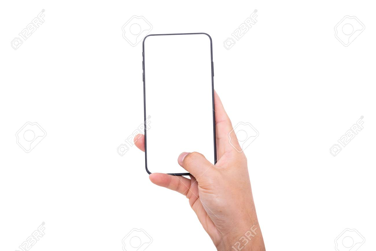 Hand holding new smartphone on white background - 121663757