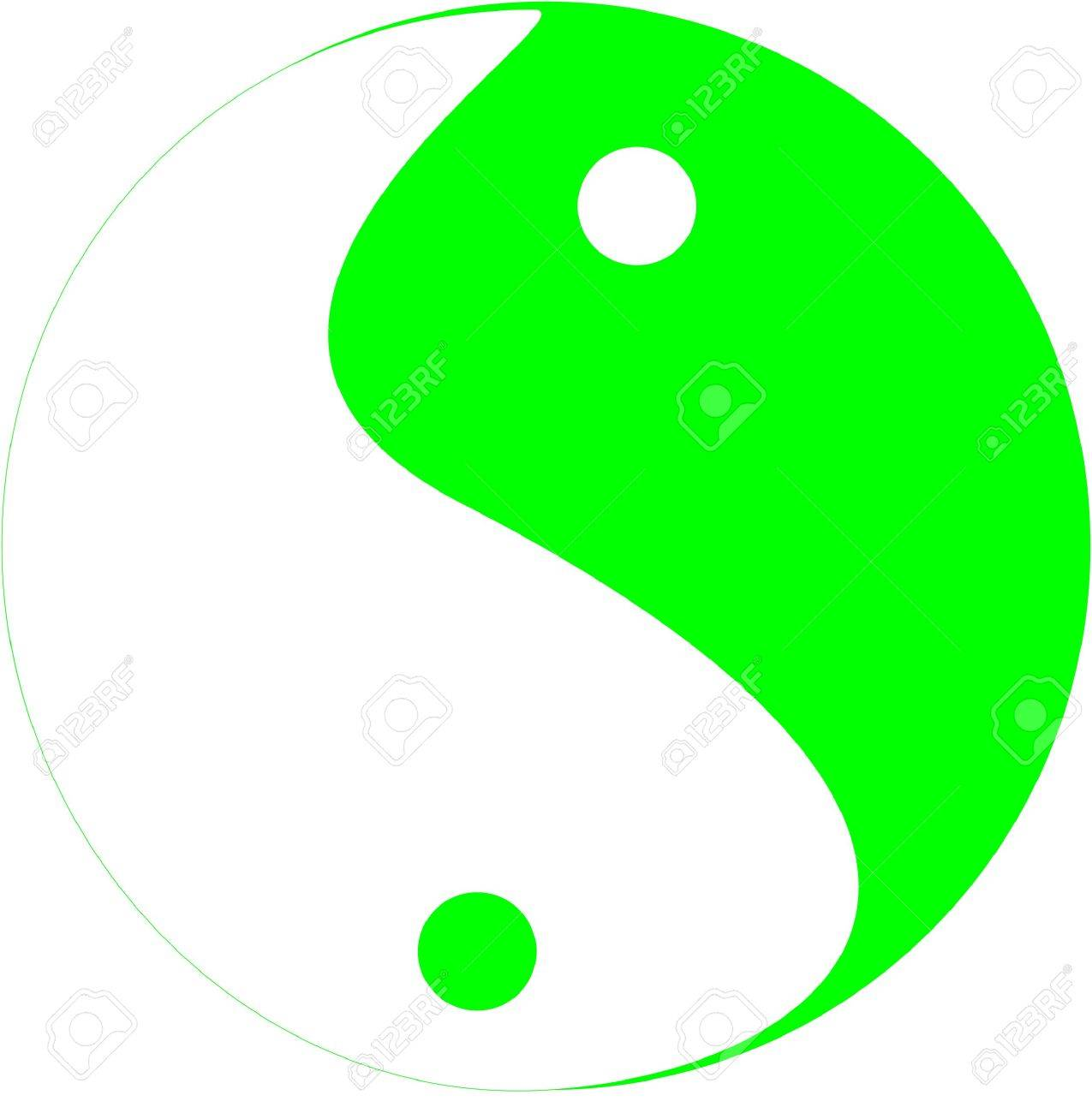 Tai Chi symbol in colors of green and white, showing the movement of yin and yang fluid motion. Stock Photo - 4240570