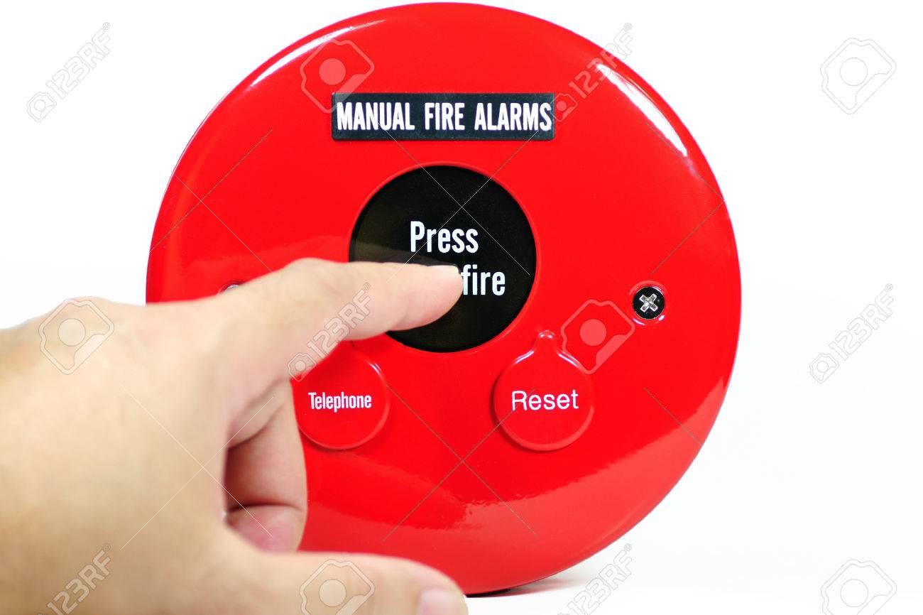 Dedo Presionando El Botón Manual De Alarma De Incendios Para ...