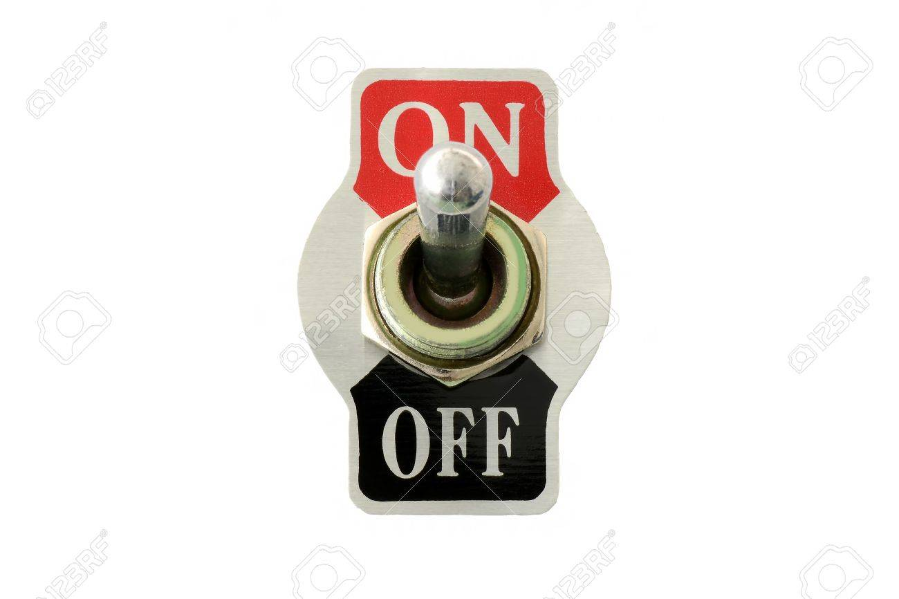Toggle switch stock photos royalty free business images front view closeup of toggle switch for electric circuit on off isolated in white biocorpaavc Images