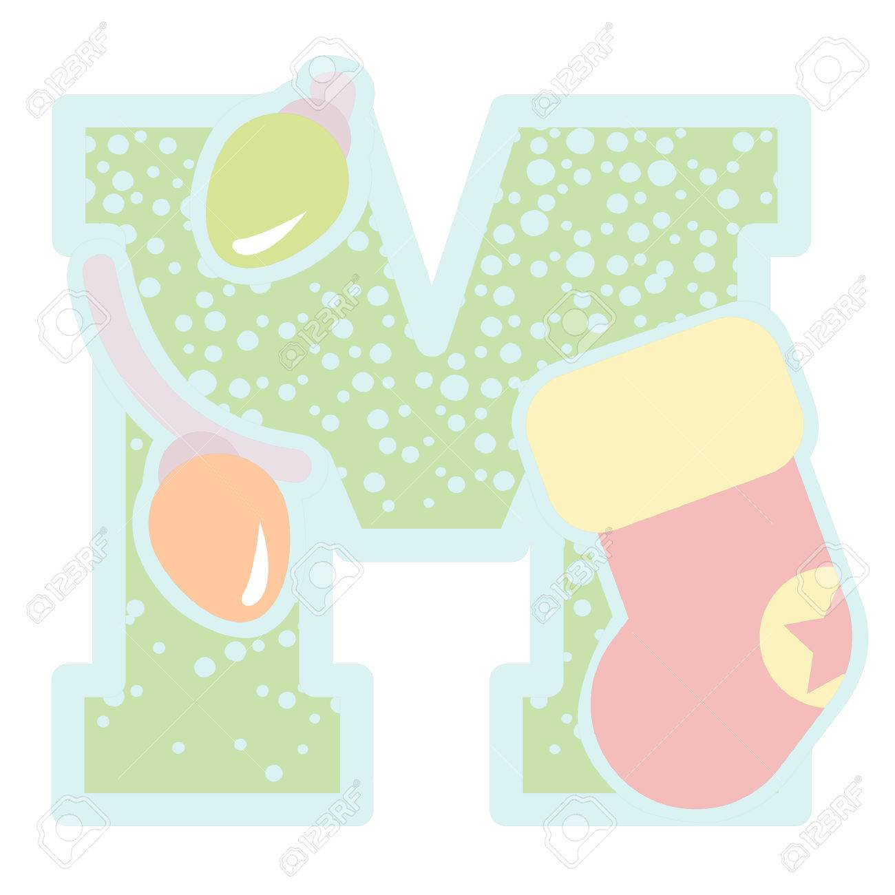 christmas decorative letter m icon royalty free cliparts vectors