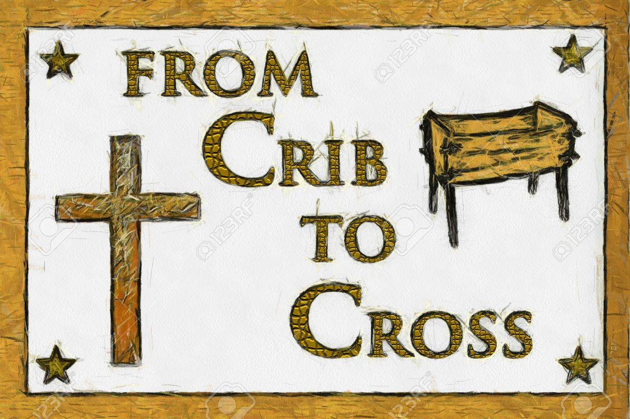 Crib to Cross Christian Art. Can be canvas or paper printed. Stock Photo - 8309041