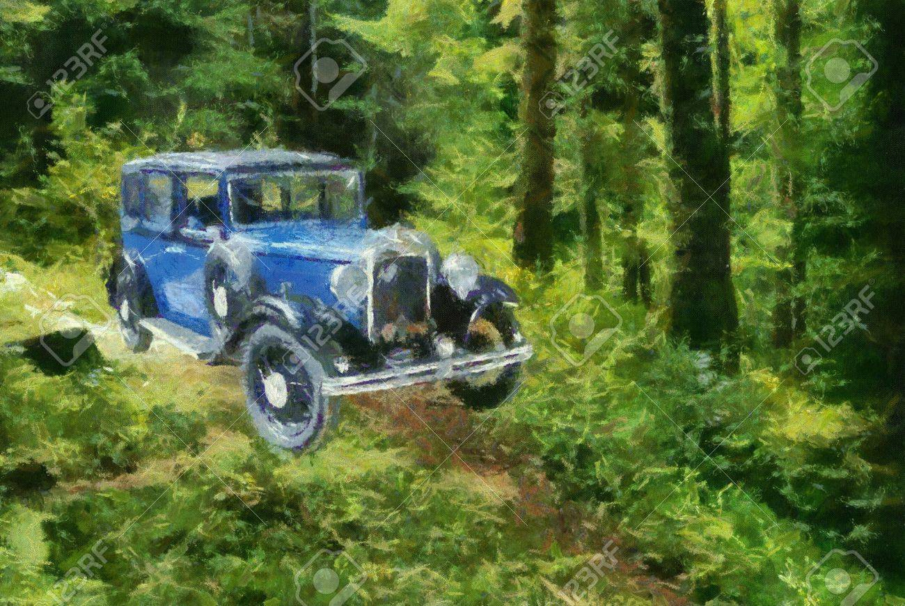 Austin Berkeley 1932 in the forest. Oil Painting (Monet Style). Stock Photo - 8363283