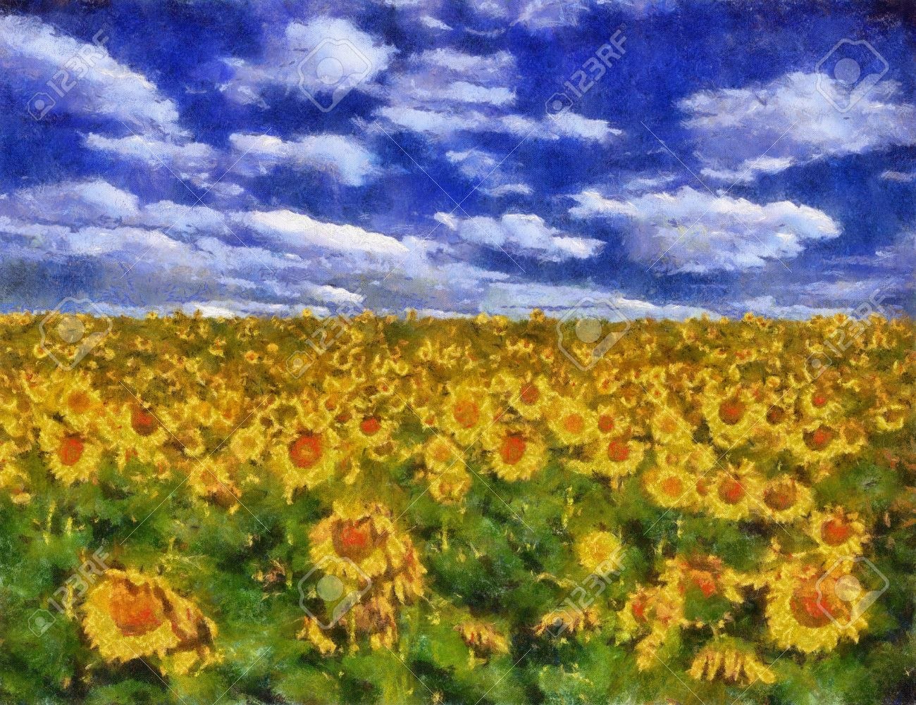 Sunflower field under blue sky background oil painting (Benson Style) Stock Photo - 8363310