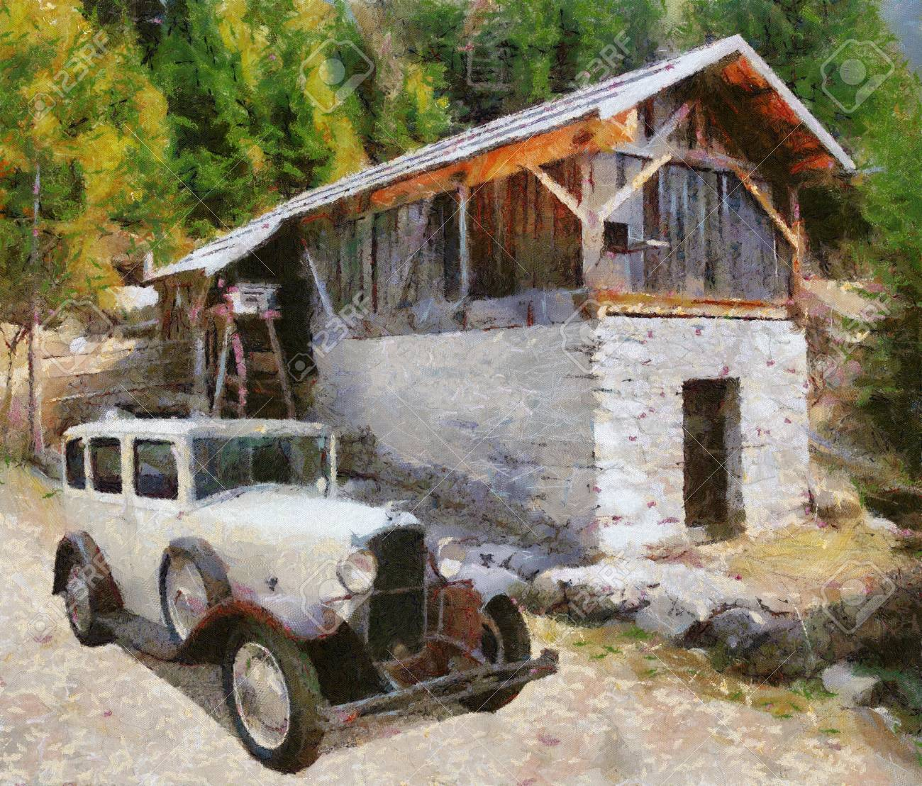 Vauxhall Cadette 1931 at old watermill. Oil Painting (Camille Style). Stock Photo - 8363318