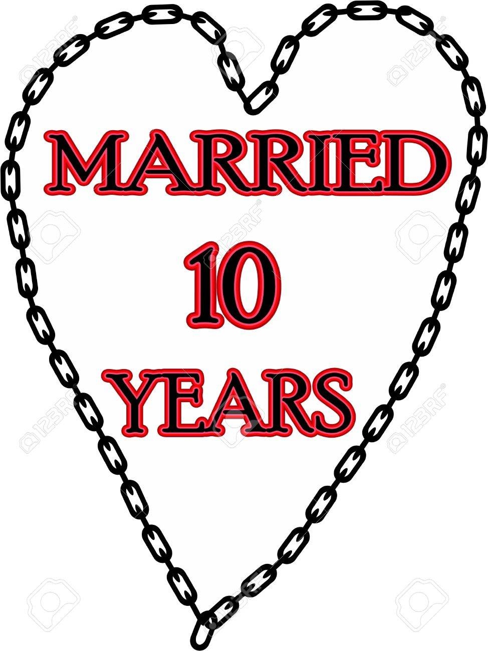 10 Year Wedding Anniversary.Humoristic Marriage Wedding Anniversary Chained For 10