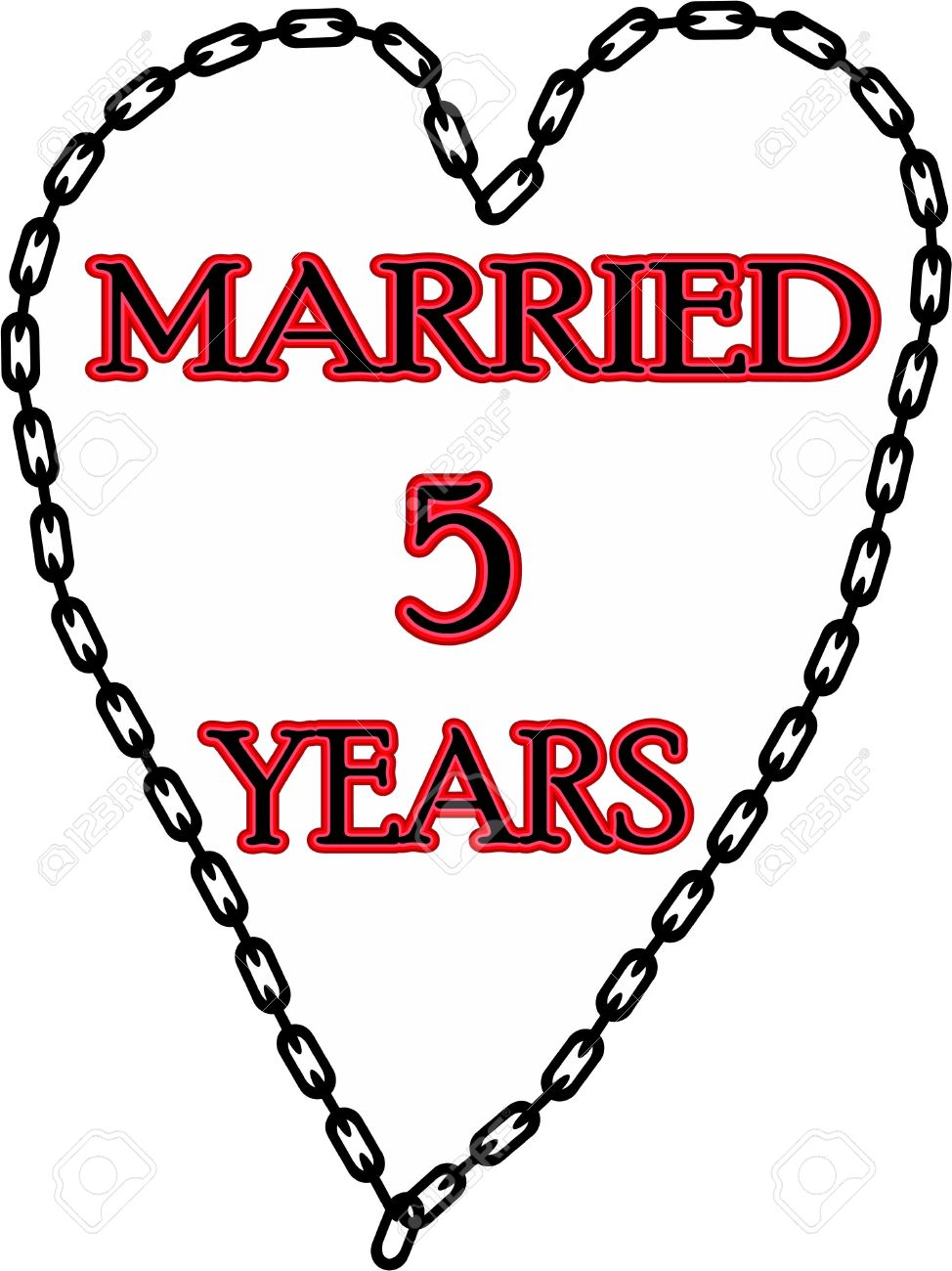 Humoristic Marriage Wedding Anniversary Chained For 5 Years