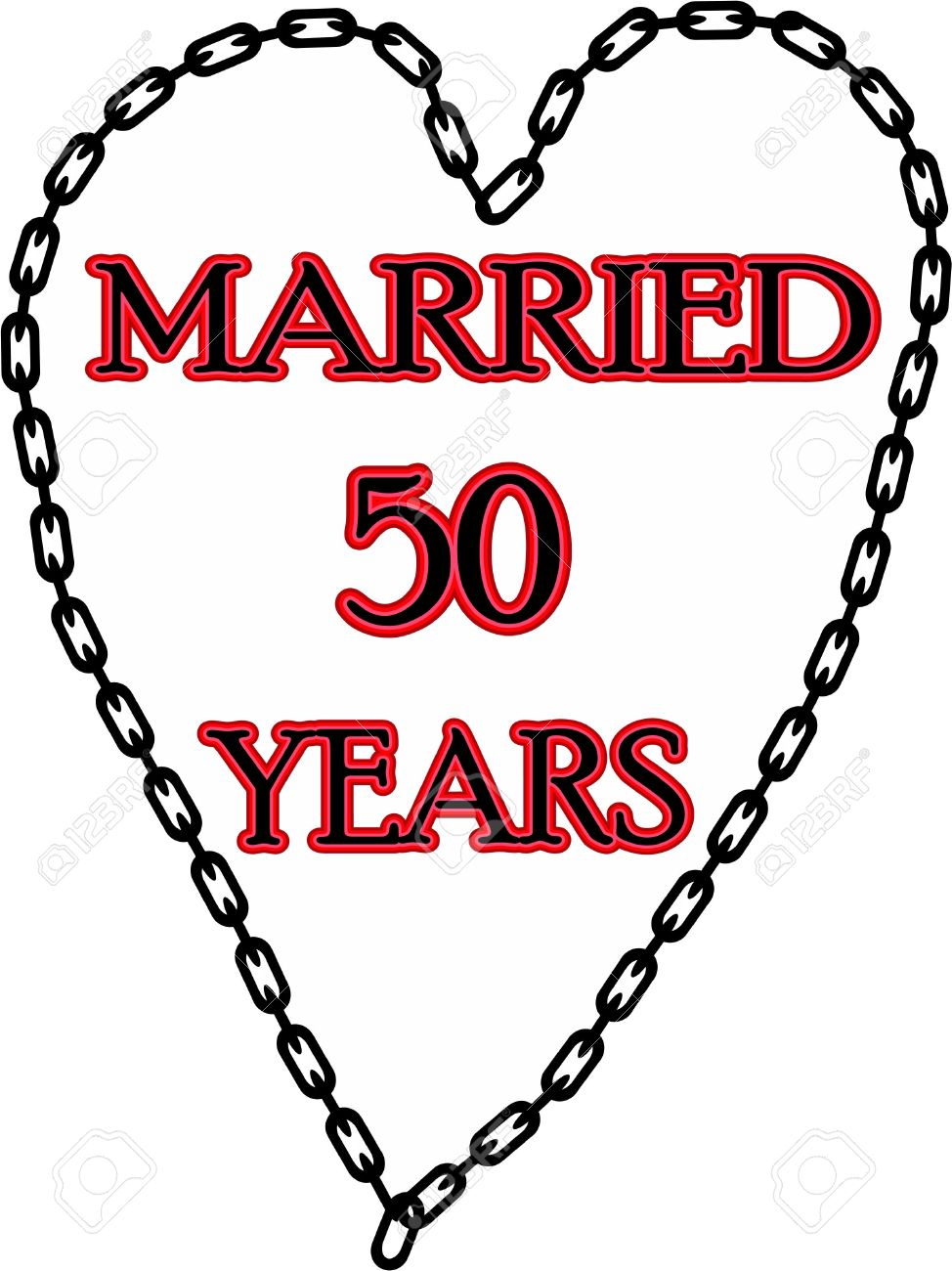Humoristic Marriage Wedding Anniversary Chained For 50 Stock
