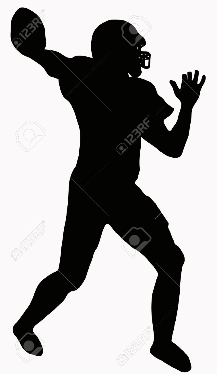 Sport Silhouette - American Football player making ready to throw pass Stock Vector - 8566222