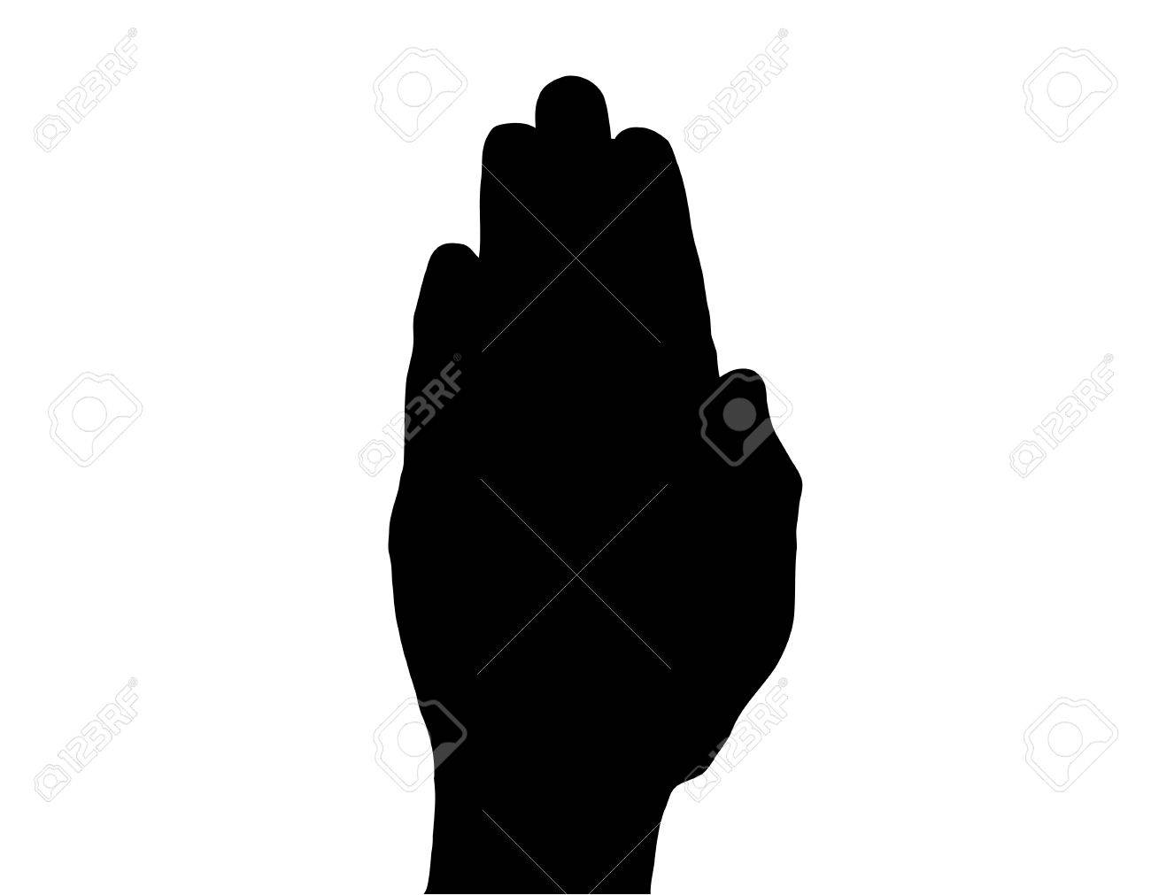 Silhouette Vector Stop Hand on White Stock Vector - 8891671