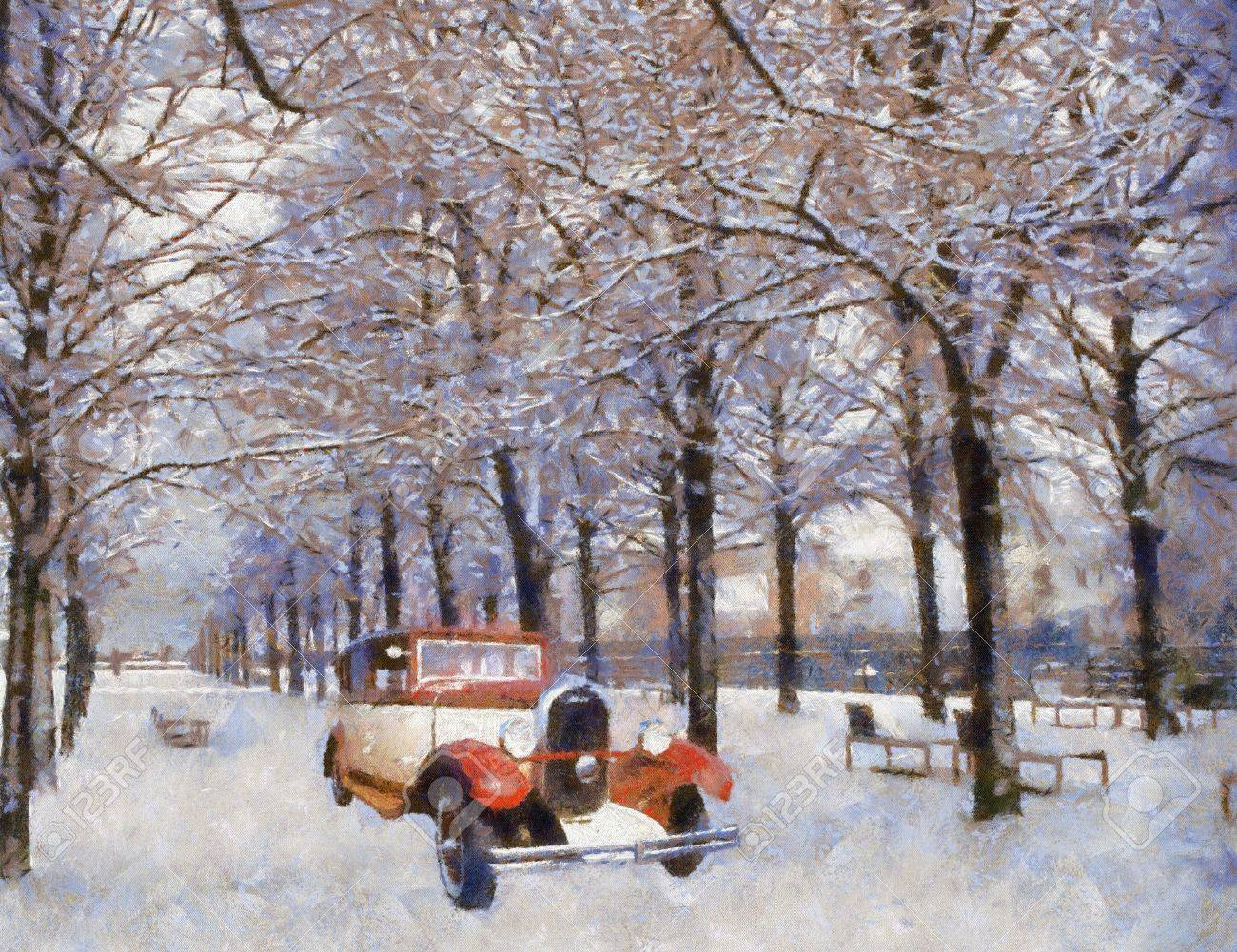 Front view of a vintage Chenard Walcker 1928 passenger vehicle on snowy road. Oil painted. Stock Photo - 8966755