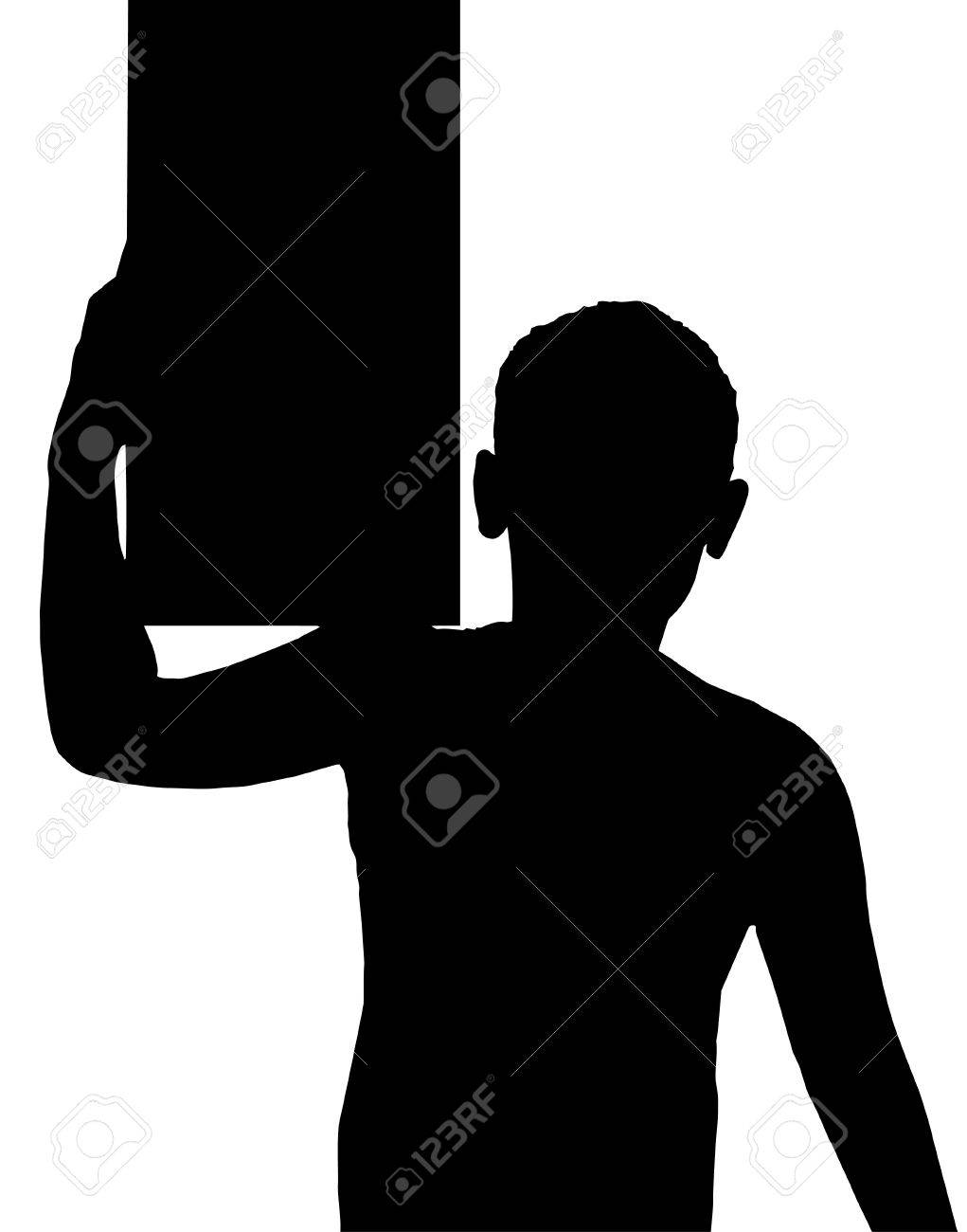 Isolated Silhouetted Boy Child Gesture and Activity Carrying Box on Shoulder Stock Vector - 9779612