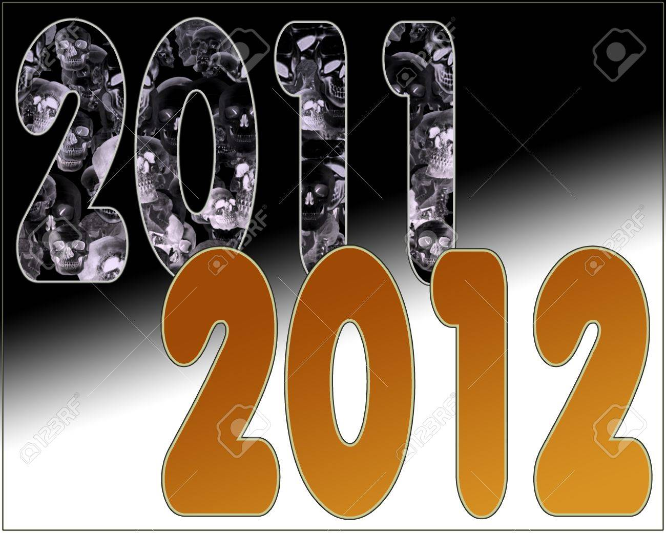 2011 End of the Bad Fresh Start of Golden Year 2012 Stock Photo - 10544329