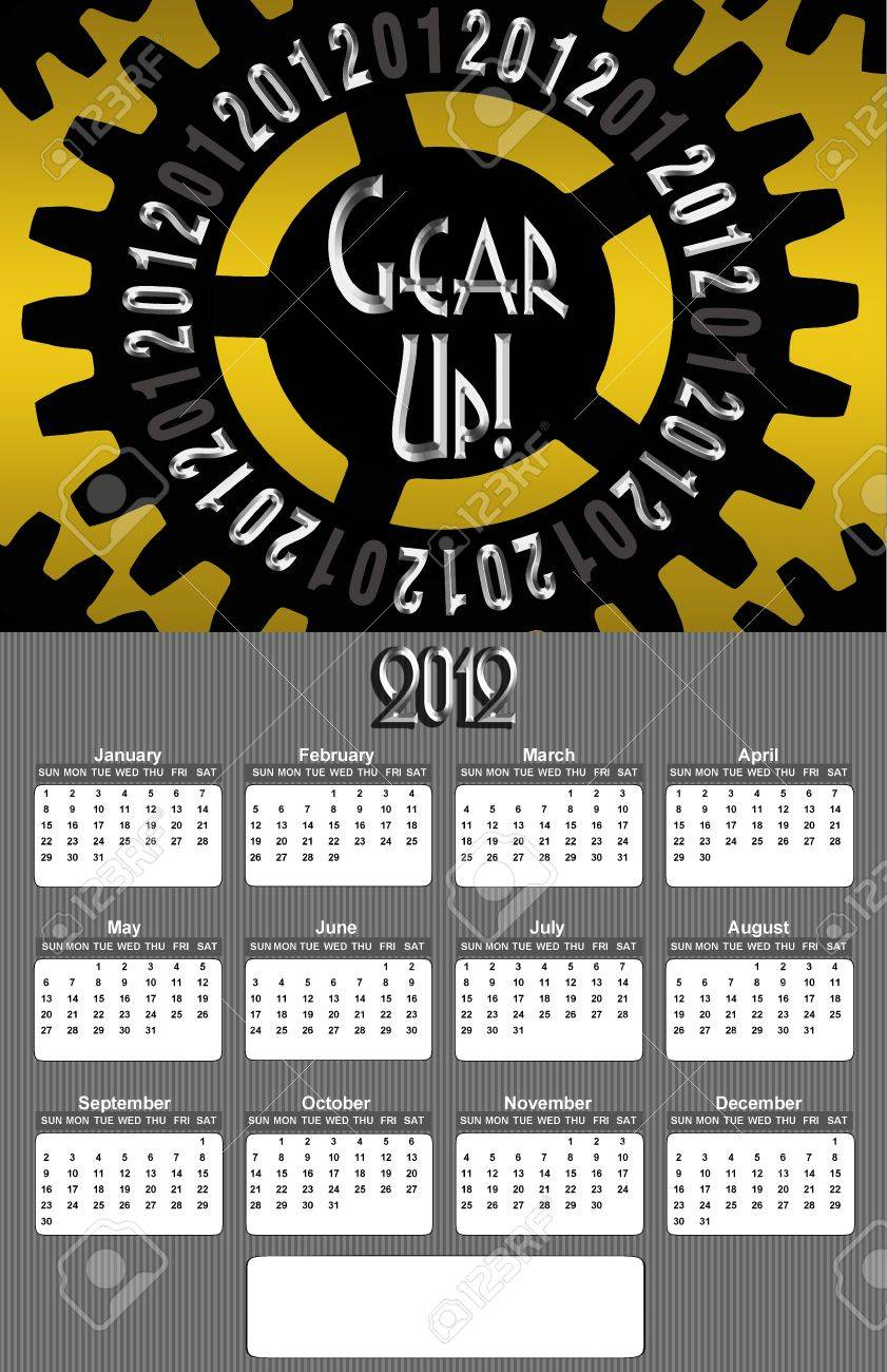 Gear Up Image 2012 Promotional Annual Calender with Blank Open Copy Area (Large Image) Stock Photo - 10544331