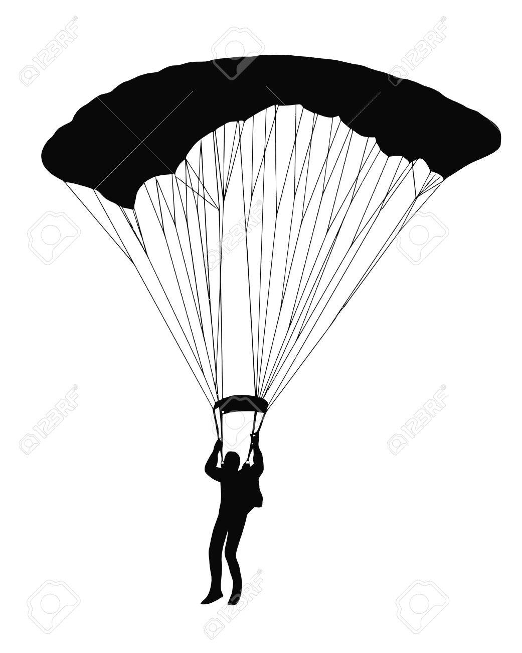 Silhouette of sky diver with open parachute Stock Vector - 10848455