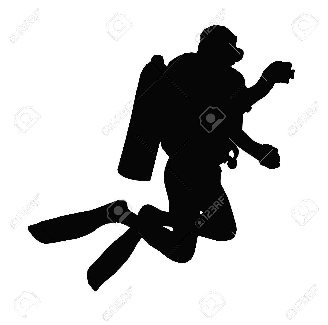 Sport Silhouette - Scuba Diver Taking Under Water Picture Stock Vector - 11058131