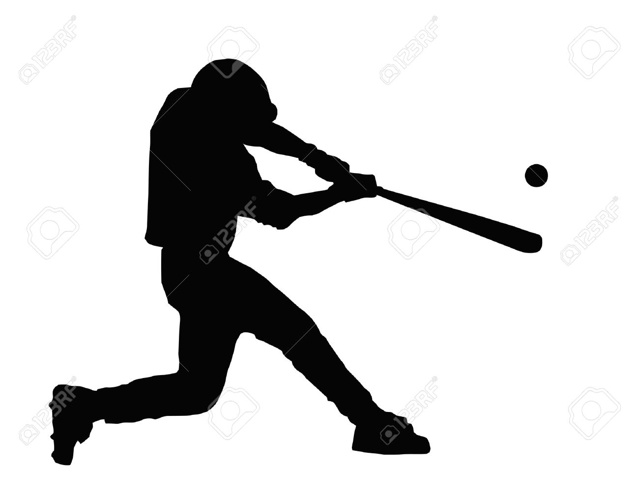 baseball batter hitting ball with bat for home run royalty free rh 123rf com Baseball Player Batter Clip Art Baseball Player Vector