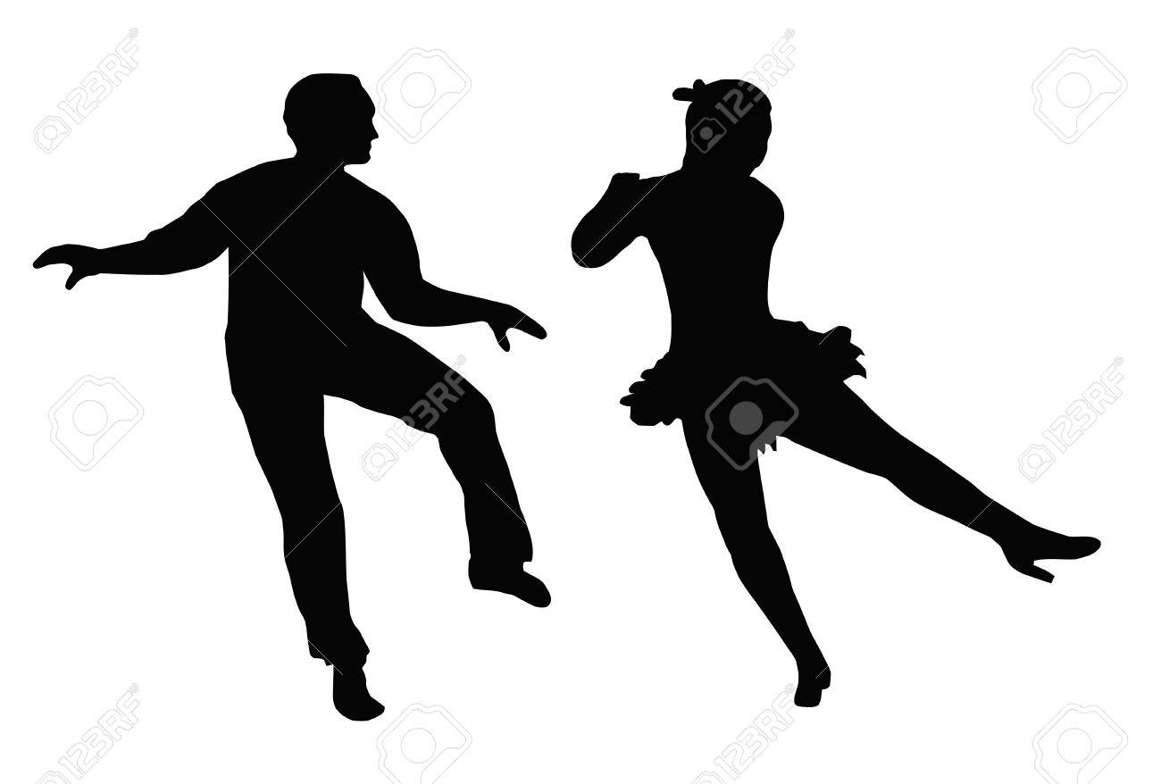 Dancing Couple Silhouette Synchronized Steps Side Kick Stock Vector - 11426192