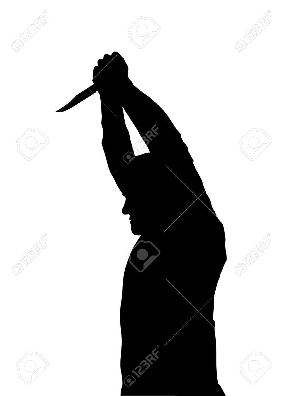 Horror Silhouette of Man with Knife Stabbing Victim Stock Vector - 12480128